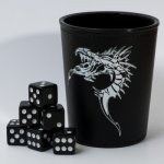Dice Cup - Black with Dragon Emblem