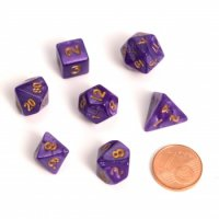 Fairy Dice RPG Set - Marbled Purple (7 Dice)