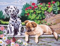 Large Painting by Numbers - 2 Dogs Look Who's Watching