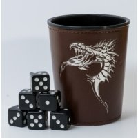 Dice Cup - Brown with Dragon Emblem